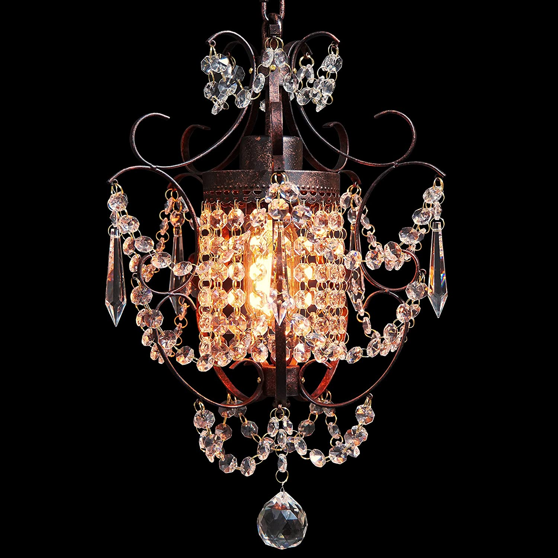 Starthi Bronze Mini Crystal Chandelier, Wrought Iron Ceiling Pendant Chandelier Light, 1-Lighting