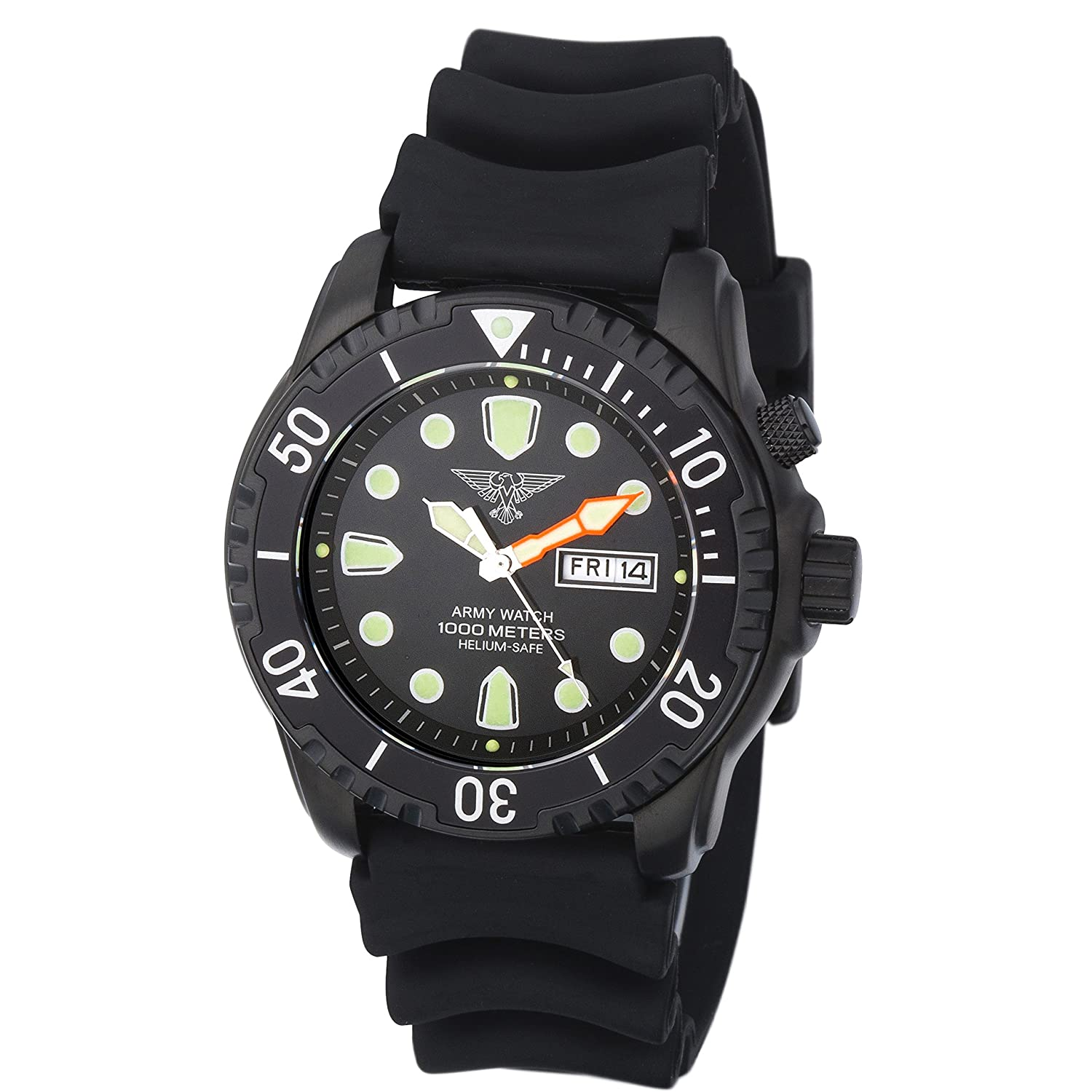 Army Watch Taucheruhr - 100 ATM-1000 Meter - Silikonband - Black IP - EP848