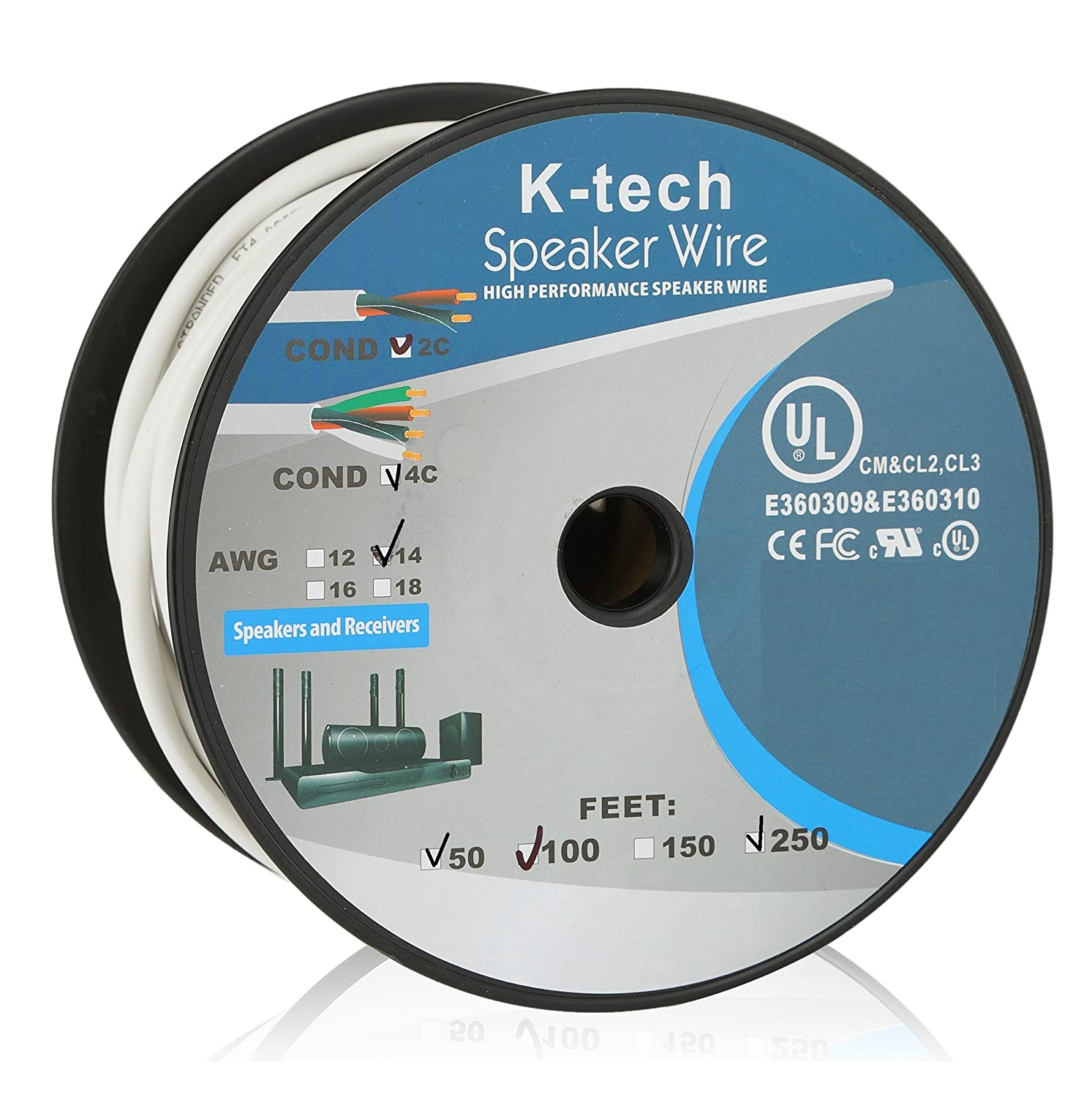 Amazon.com: K-tech In Wall Speaker Wire 14AWG UL CL2 Rated 2 ...