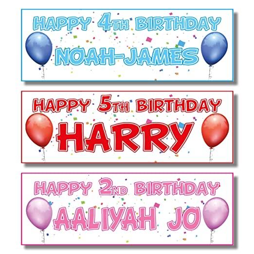 2 pancartas de cumpleaños personalizadas - diseño de globo ...