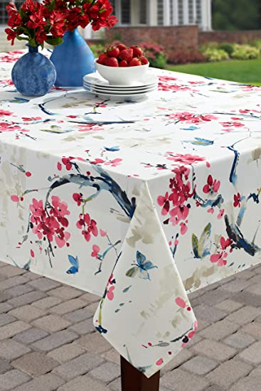 52 X 70 Rectangular, Blooming Floral Benson Mills Garden Party Indoor//Outdoor Spillproof Tablecloth