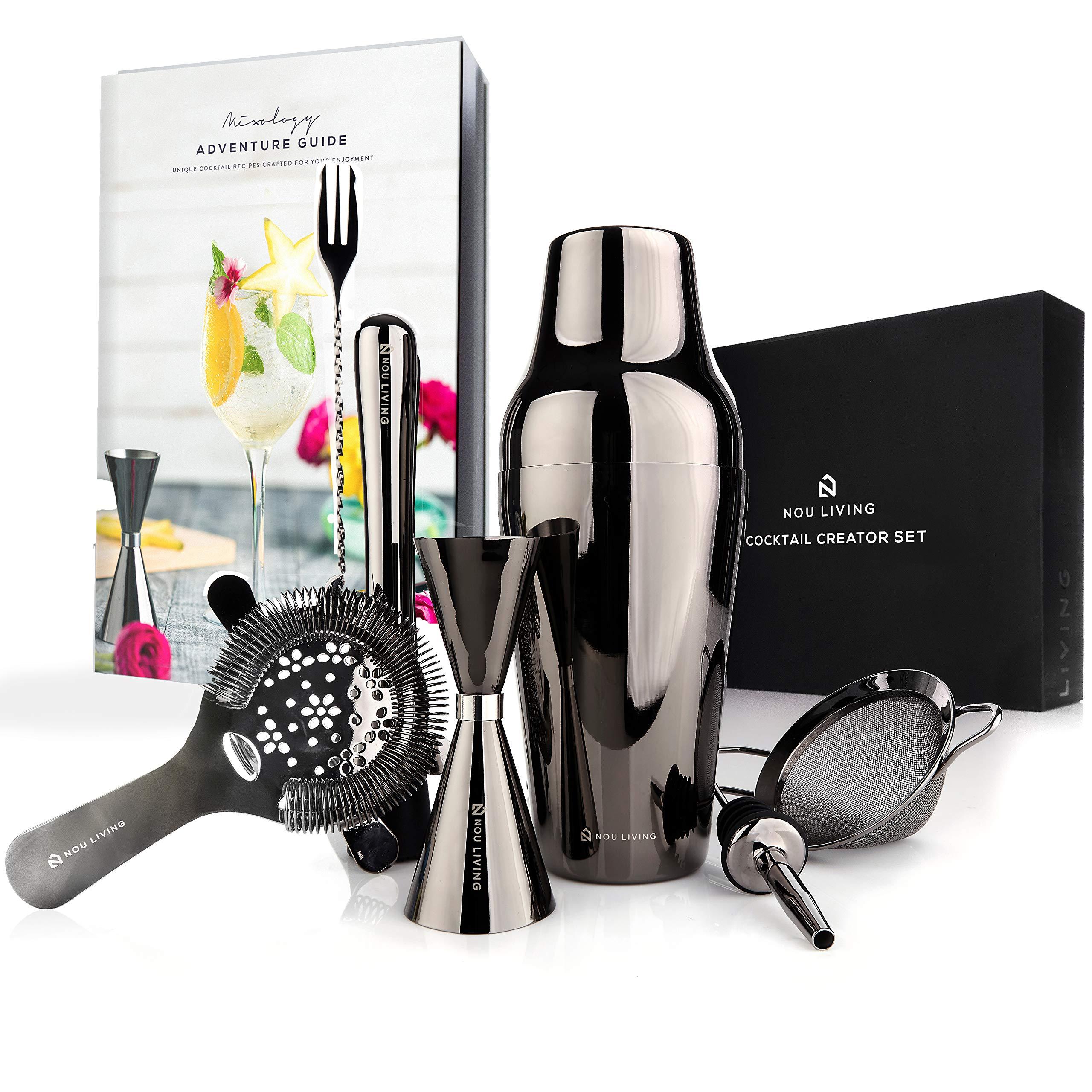 Premium Cocktail Shaker Set and Mixology Bartender Kit - Luxury Bar Set & Bartending Tools: Parisian Drink Shaker, Strainer, Muddler, Jigger, Mixer Spoon, Accessories & Recipe E-Book - Gun Metal Black by Nou Living (Image #1)