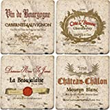 Thirstystone Ambiance Travertine Wine Labels Coaster, Multicolor