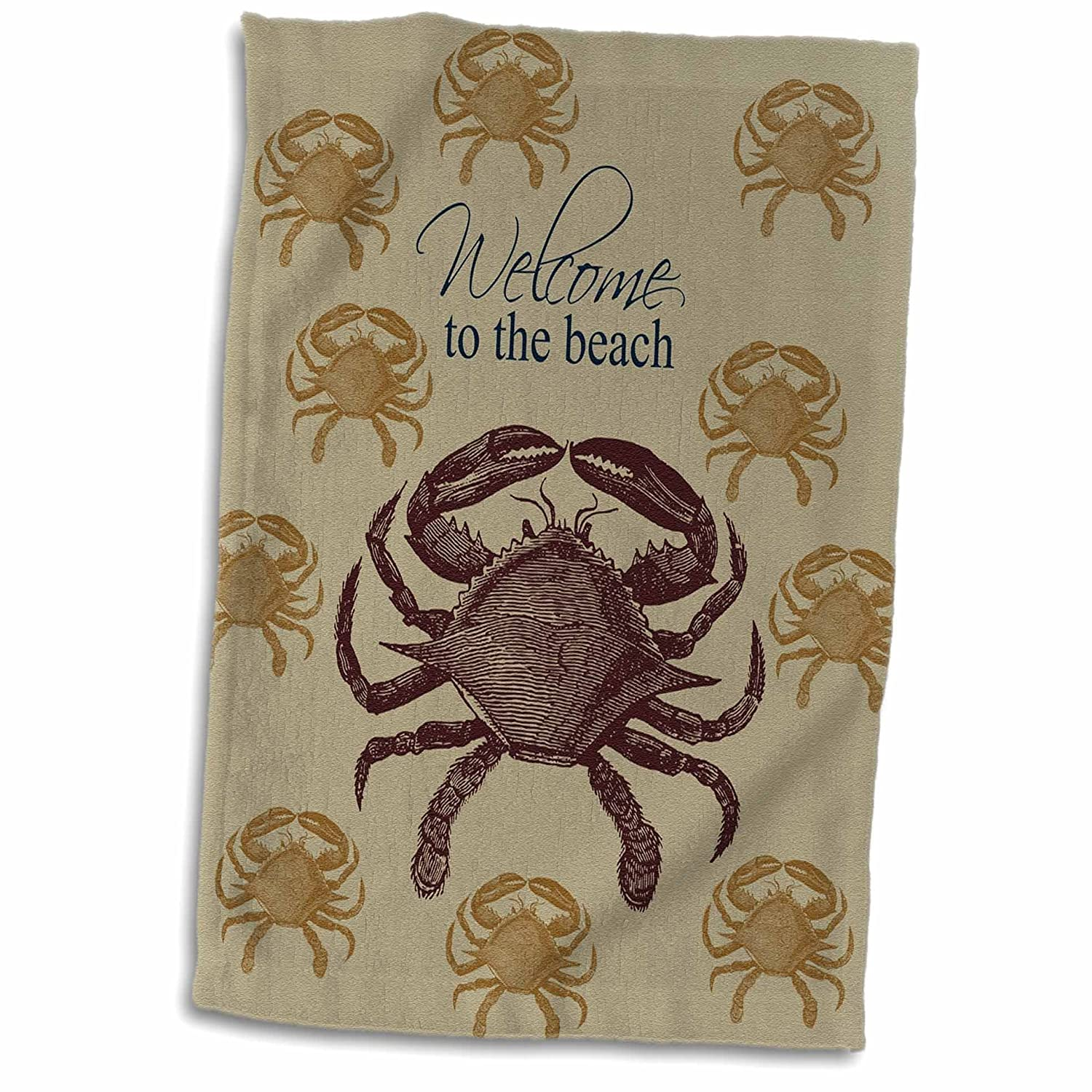 3D Rose Welcome to The Beach Crab Hand//Sports Towel 15 x 22