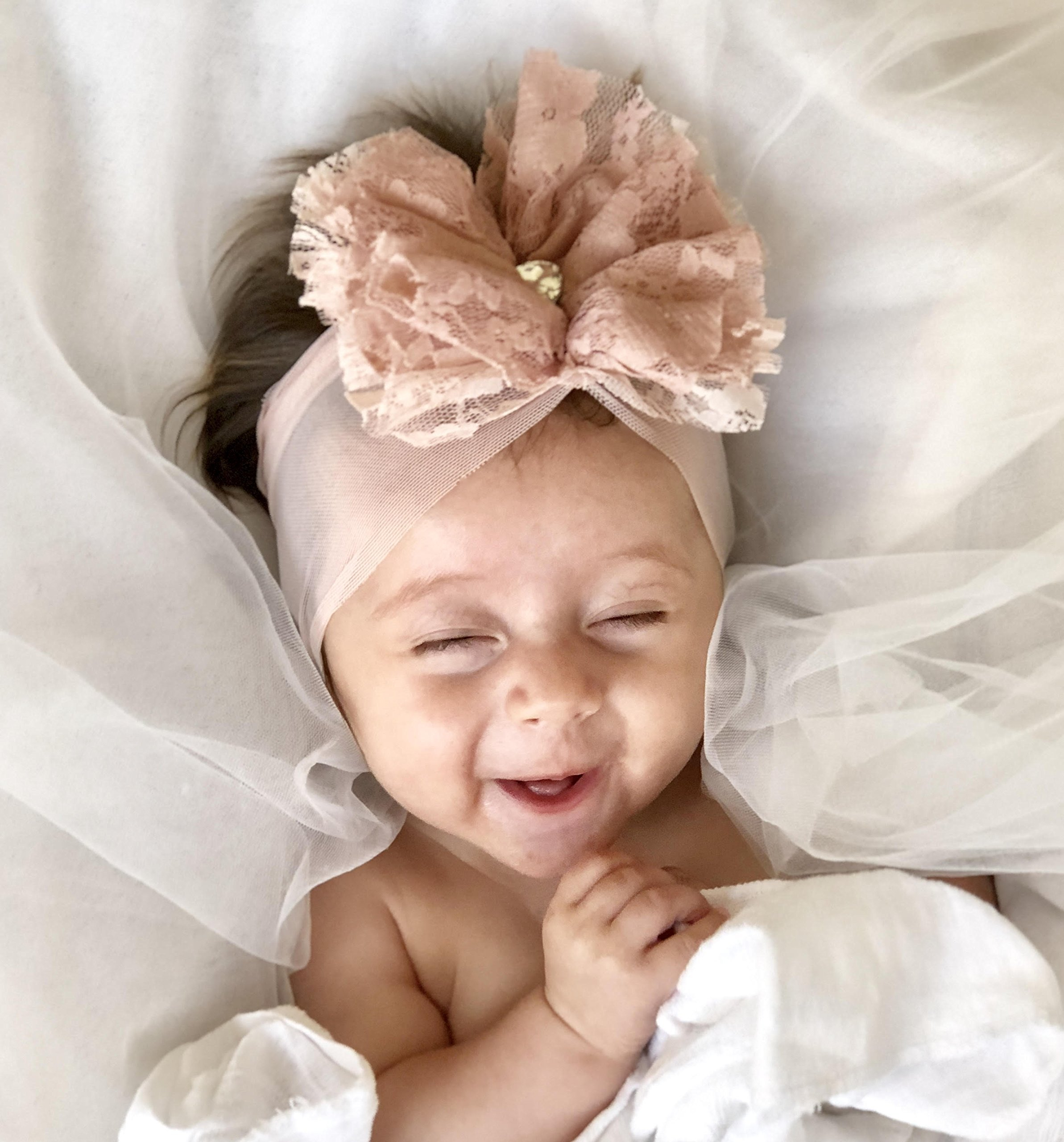 Light Pink Baby Headband, 0-6 Month Old, With Fabric Flower and Rhinestone