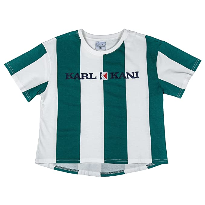 Karl Kani Women T-Shirt Retro Stripe, Größe:L, Farbe:Green/White: Amazon.es: Ropa y accesorios