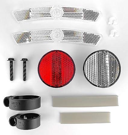 REFLECTOR SET BIKE BICYCLE RED WHITE SAFETY WHEEL REFLECTORS sunlite Cateye