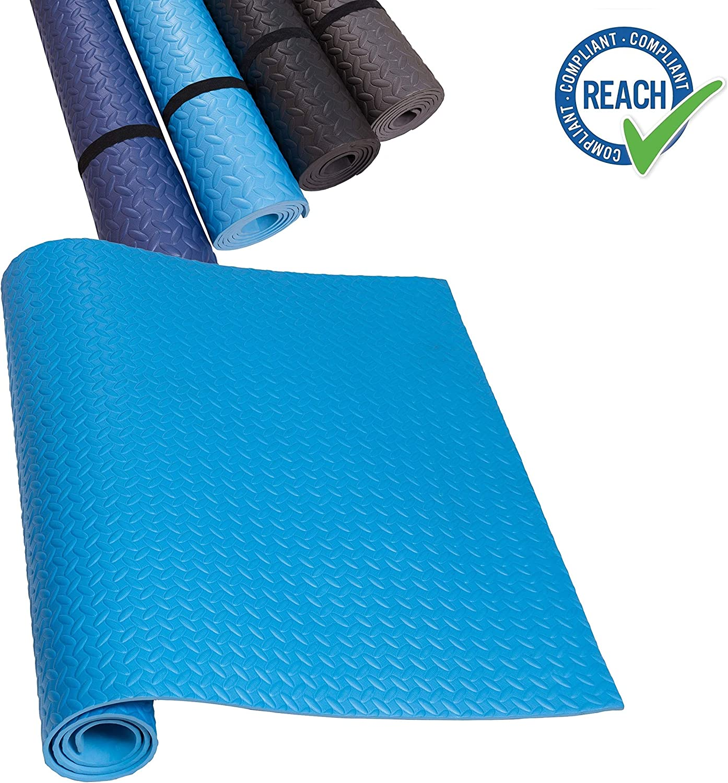 HD Fitness EVA Alfombra de Base de Cinta Negro Mat de Yoga Antideslizante y absorbentes del Sonido - Suelo de Gimnasio de protección para el Suelo,SGS Probado