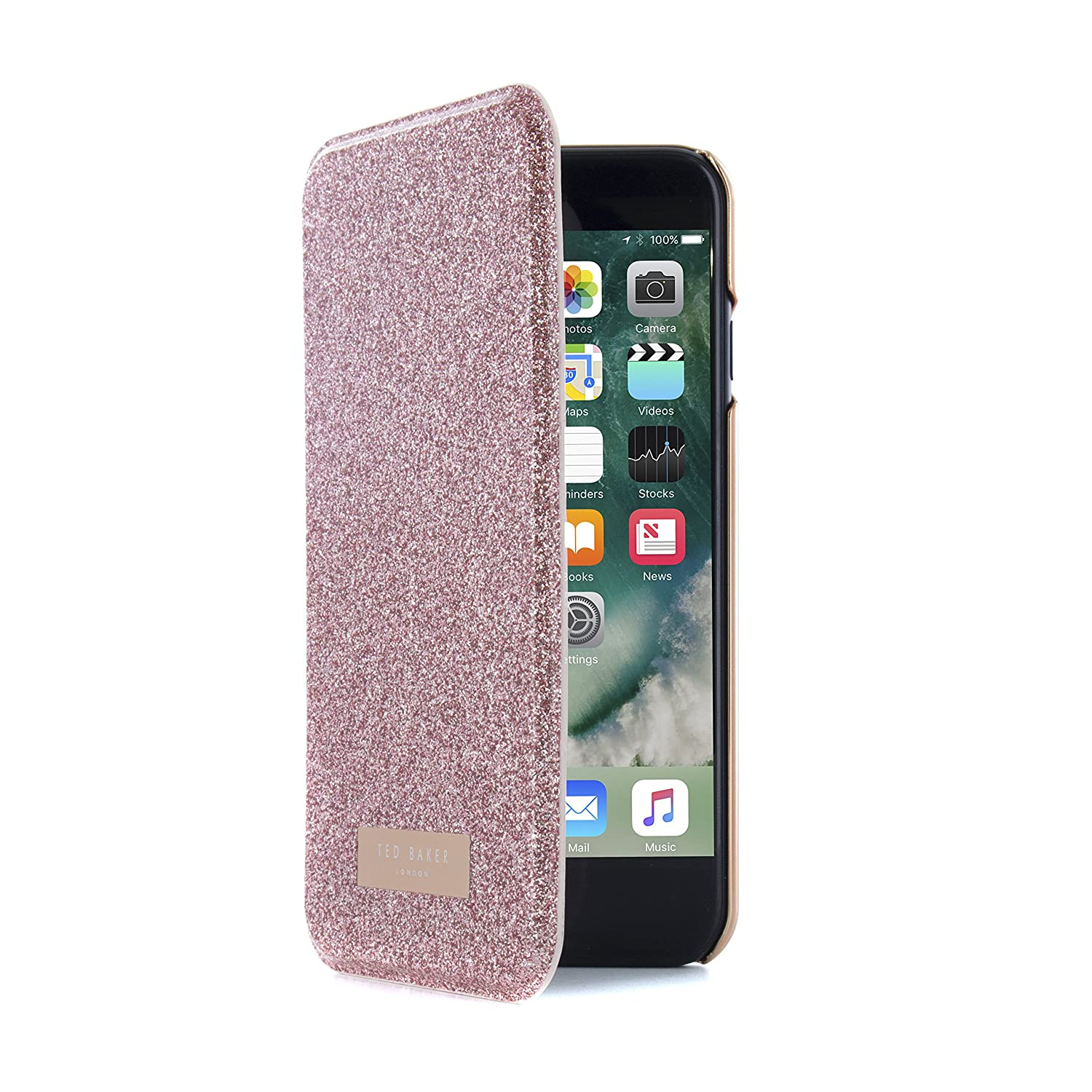 3cb2704a2 Amazon.com  Ted Baker SS17 Folio Style Case for Apple iPhone 8 7 - Fashion Mirror  Case in Sprinkling of Sparkle Illuminates for Professional Women - GLITSIE  ...