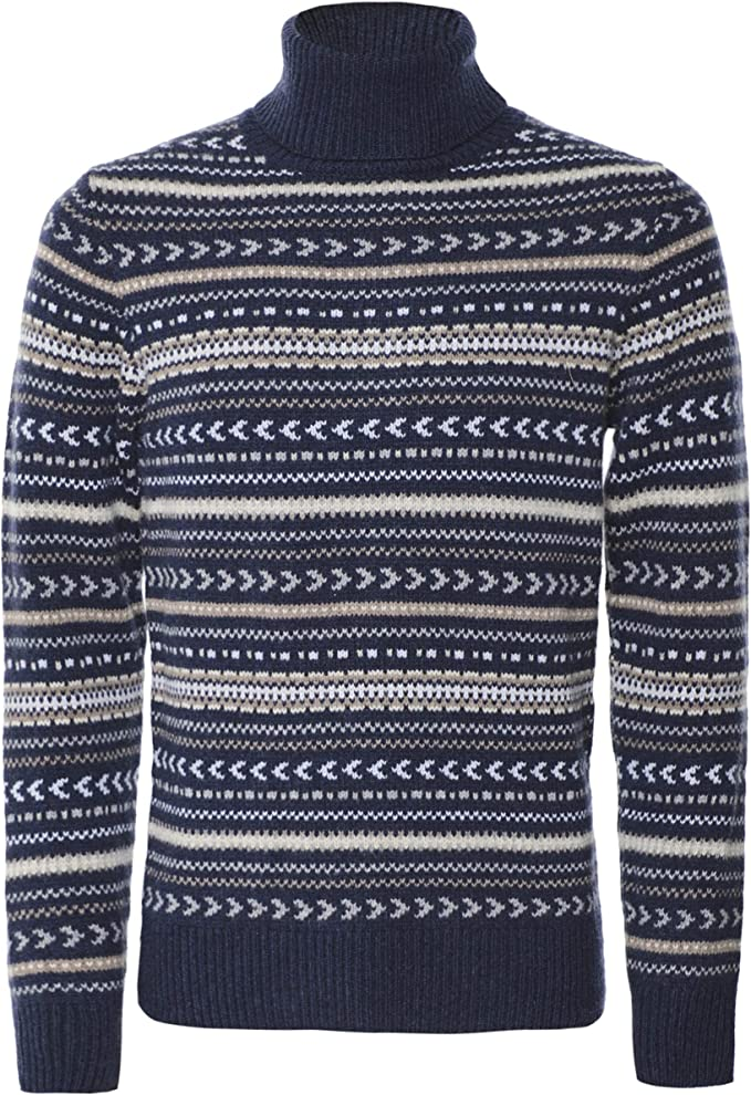 Men's Vintage Sweaters, Retro Jumpers 1920s to 1980s Hackett London Mens Fairisle Roll Neck Jumper £207.62 AT vintagedancer.com