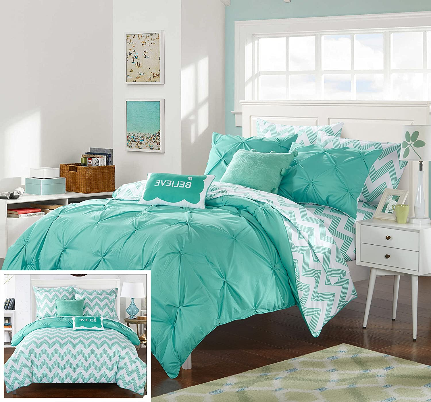 Chic Home 9 Piece Heathville Pinch Pleated Comforter Set Aqua