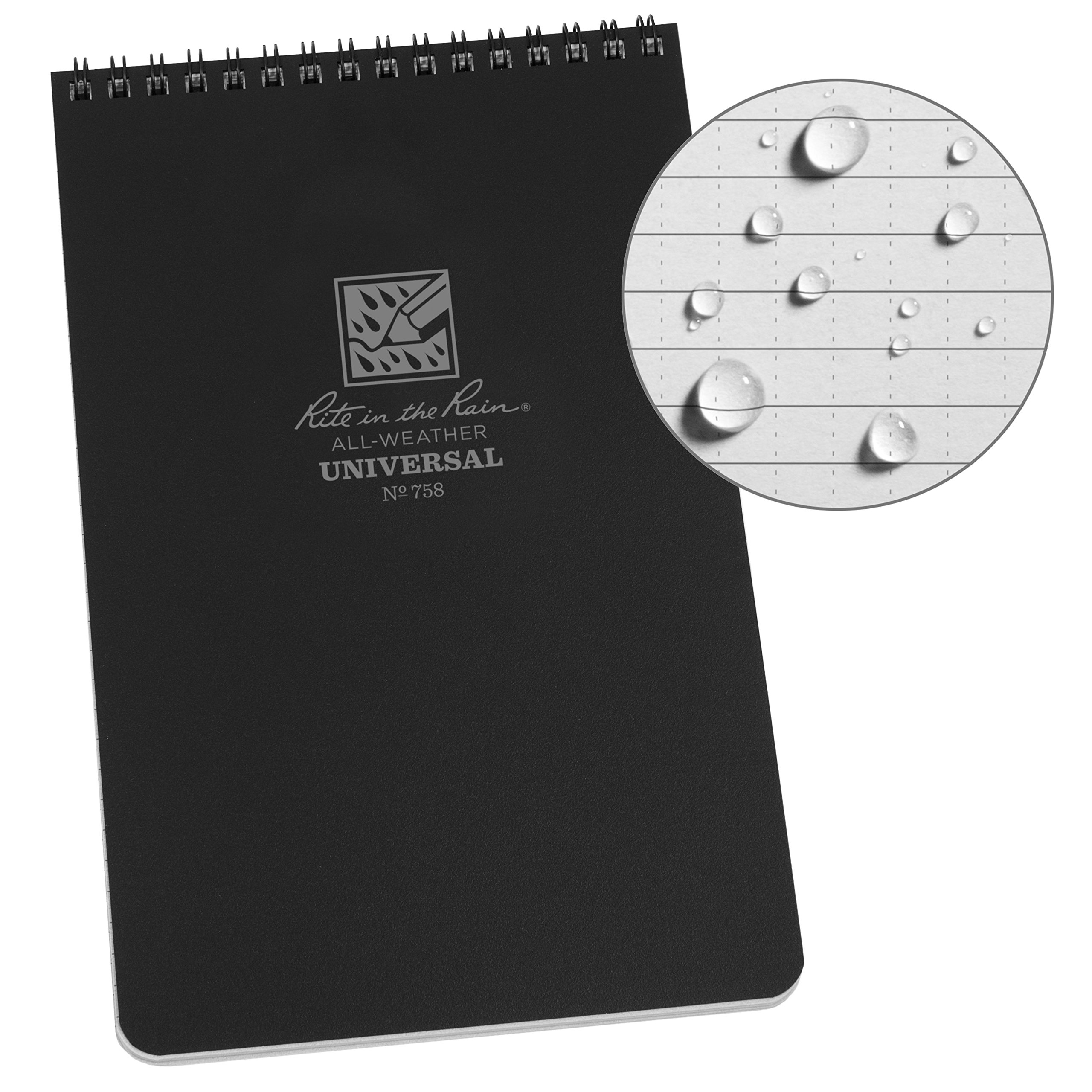 Rite in the Rain Weatherproof Top-Spiral Notebook, 5 1/2'' x 8 1/2'', Black Cover, Universal Pattern (No. 758)