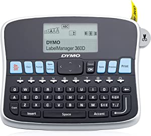DYMO Desktop Label Maker | LabelManager 360D Rechargeable Hand-Held Label Maker, Easy-to-Use, One-Touch Smart Keys, QWERTY Keyboard, Large Display, For Home & Office Organization