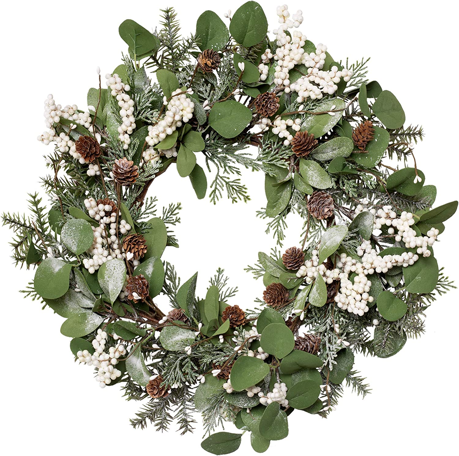 Skrantun 20 Inch Christmas Wreath Winter Wreath for Front Door White Berry Wreath with Pine Branches and Pine Cone Christmas Decorations with Artificial Snow