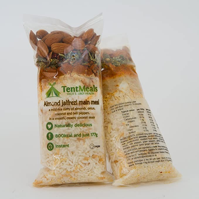 TentMeals Camping y expedición de Alimentos: Jalfrezi Comida Principal de almendras. Gran 800 Kcal Comidas (Pack de 4): Amazon.es: Deportes y aire libre