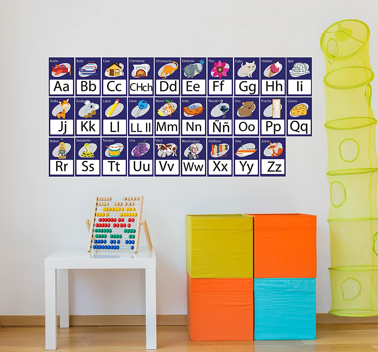 Amazon.com: ManukaDesigns Spanish Alphabet Wall Decal Cards, Gender Neutral Kids Decor, Kids Room Decor CG398: Toys & Games