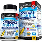 Omega 3 Fish Oil Supplement – Immune & Heart Support Benefits– Promotes Joint, Eye, Brain & Skin Health - Non GMO Triglyceride Softgels - Lemon Flavor EPA 1200mg, DHA 900mg Fatty Acids Gluten Free