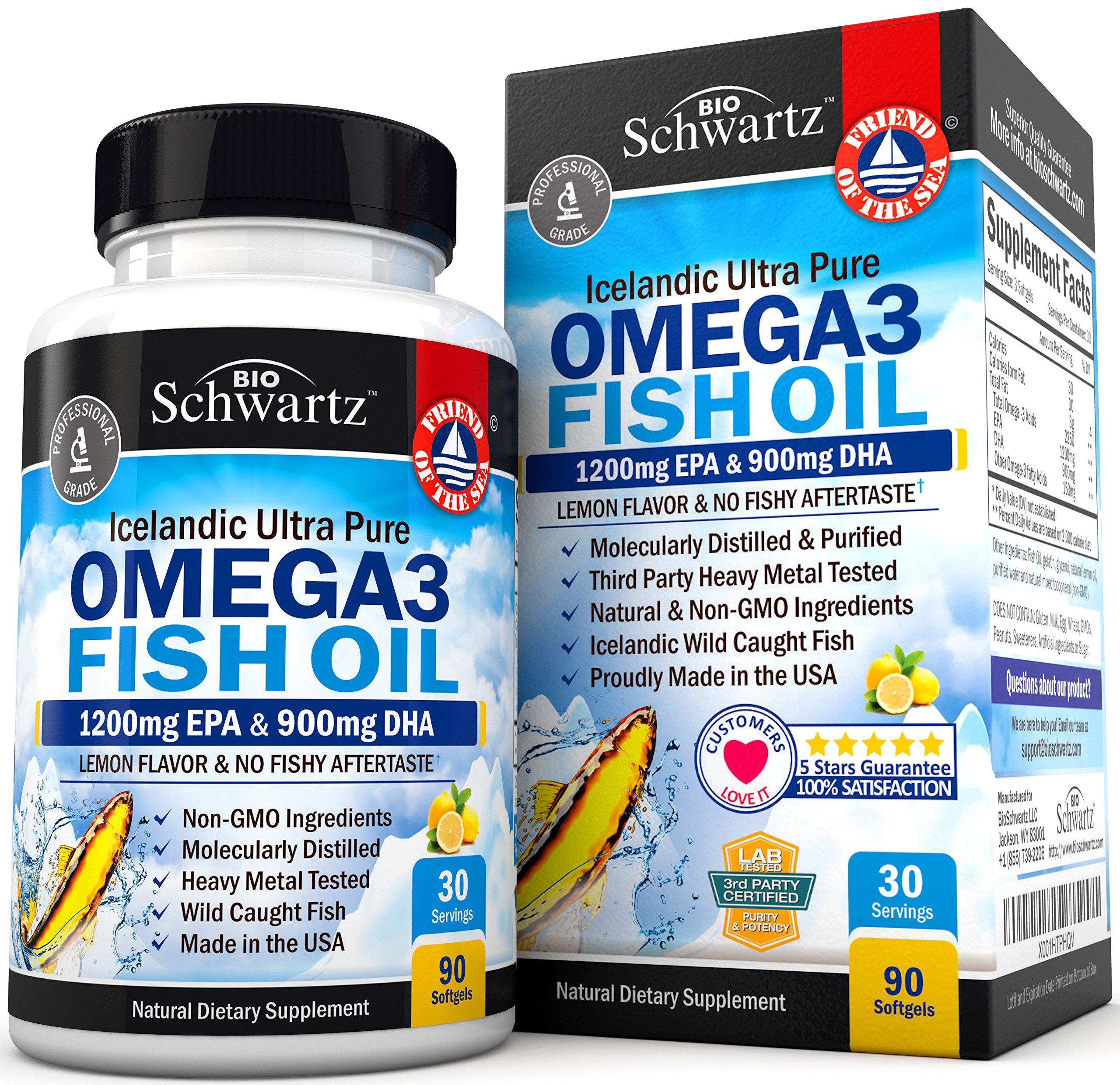 Omega 3 Fish Oil Supplement - Immune & Heart Support Benefits- Promotes Joint, Eye, Brain & Skin Health - Non GMO Triglyceride Softgels - Lemon Flavor EPA 1200mg, DHA 900mg Fatty Acids Gluten Free by BioSchwartz