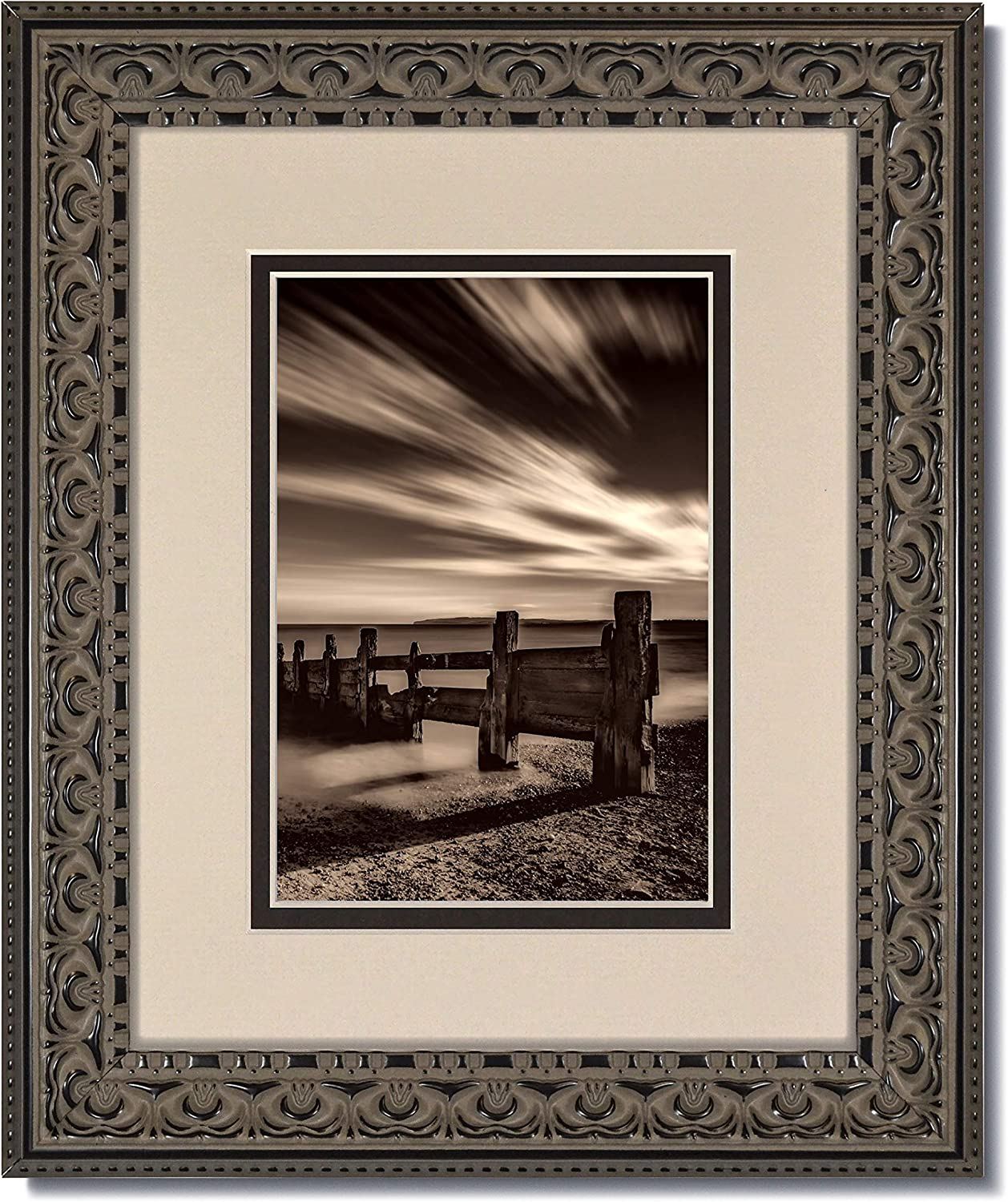 Amazon Com Set Of 6 16x20 Vintage Ornate Black Picture Frames With Clear Glass And Oyster Black Double Mat For 12x16 6