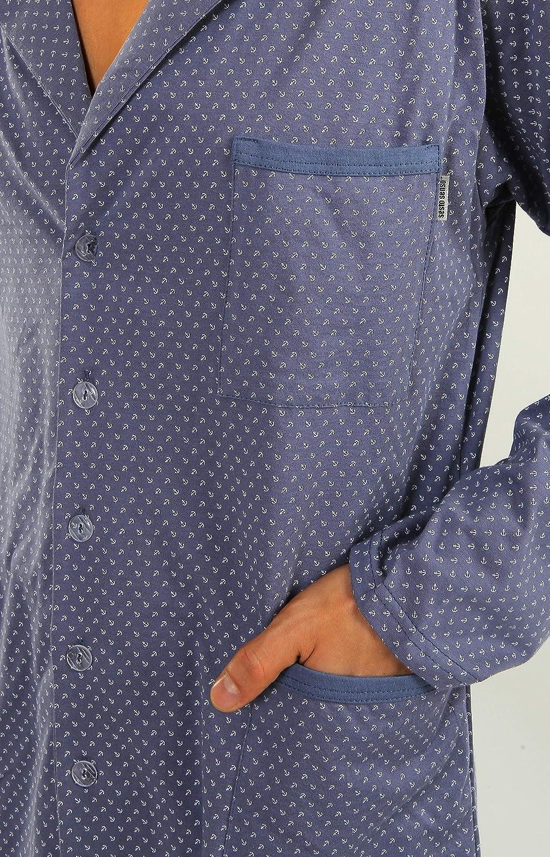 Sesto Senso/® Pigiama Uomo Abbottonata 100/% Cotone Lungo Set Pigiami Bottoni Classici Due Pezzi Lingerie Maniche Lunghe Pantaloni Lunghi