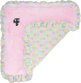 product image for BESSIE AND BARNIE Bubble Gum/Ice Cream (Ruffles) Luxury Ultra Plush Faux Fur Pet, Dog, Cat, Puppy Super Soft Reversible Blanket (Multiple Sizes)