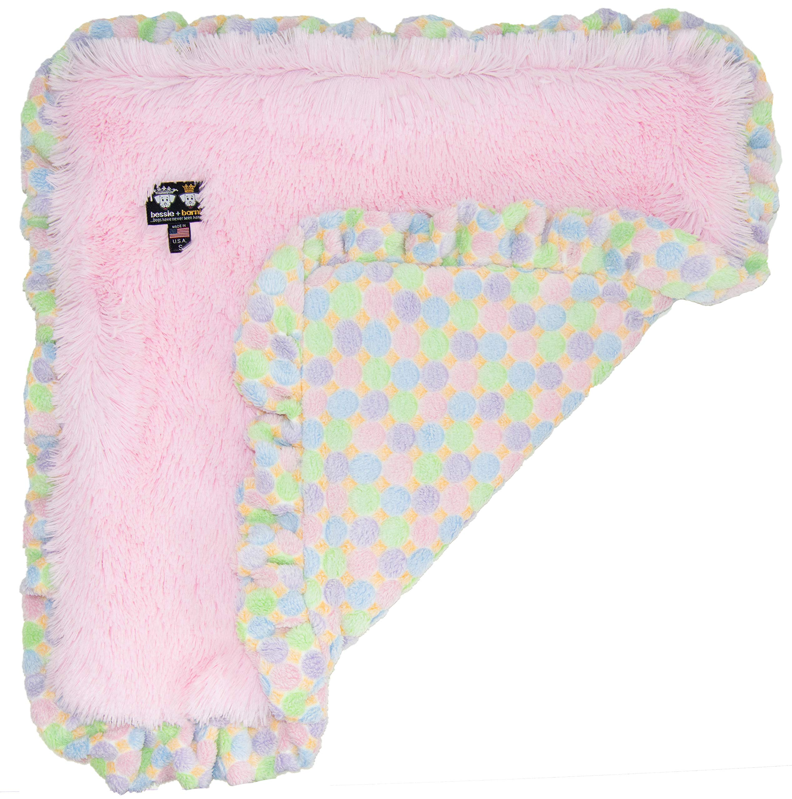 BESSIE AND BARNIE Bubble Gum/ Ice Cream (Ruffles) Luxury Ultra Plush Faux Fur Pet, Dog, Cat, Puppy Super Soft Reversible Blanket (Multiple Sizes), MD - 36'' x 28'' by Bessie and Barnie