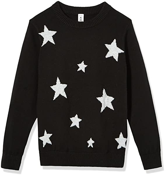 Amazon.com  Kid Nation Girls  Long Sleeve Star Pullover XS Black ... 637ab6d41dfc