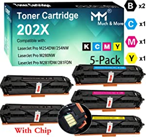 (5-Pack, 2X B+C+M+Y) Compatible CF501X CF502X CF503X CF500X Toner Cartridge 202X High Yield Used for HP Laserjet Pro M254DW M254NW M280NW M281FDW 281FDN Printer, Sold by MuchMore