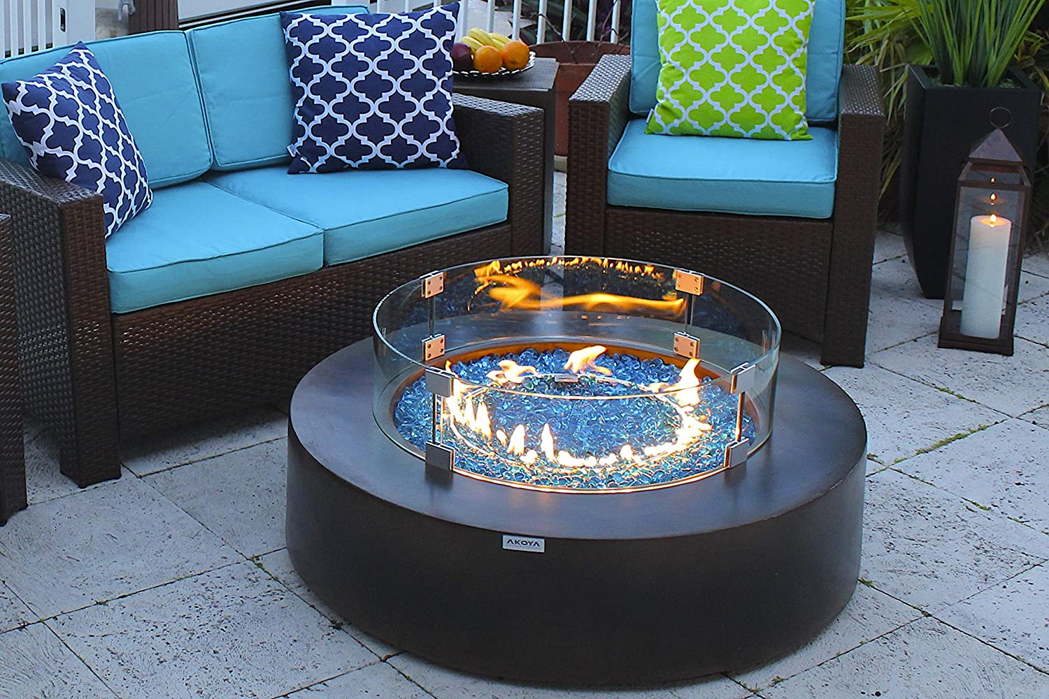 AKOYA Outdoor Essentials 42 Round Modern Concrete Fire Pit Table w Glass Guard and Crystals Set Amber