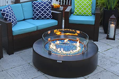AKOYA Outdoor Essentials 42 Round Modern Concrete Fire Pit Table w Glass Guard and Crystals Set in Brown Onyx Black
