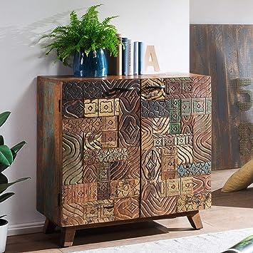 Wohnling Sideboard Carved 90x90x40 Cm Massivholz Vintage Anrichte