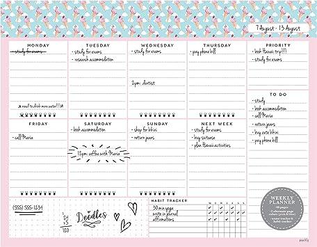 Weekly Desk Planner Organise Tasks Priorities Meetings Notes A4 60 Pages