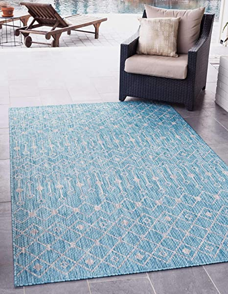 Unique Loom Outdoor Trellis Collection Tribal Geometric Transitional Indoor and Outdoor Flatweave Blue//Ivory Area Rug 2 0 x 3 0