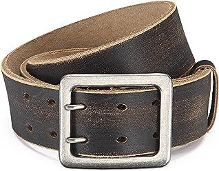 Eg-Fashion Stylischer Jeansgürtel Herren Büffelleder-Gürtel mit Doppeldorn-Schließe in 4,5 cm Breite - Individuell kürzbar