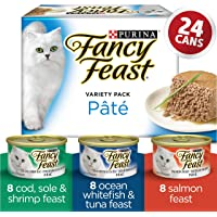 Fancy Feast Wet Cat Food, Seafood Supper Pâté Variety Pack 85 g Cans (24 pack)