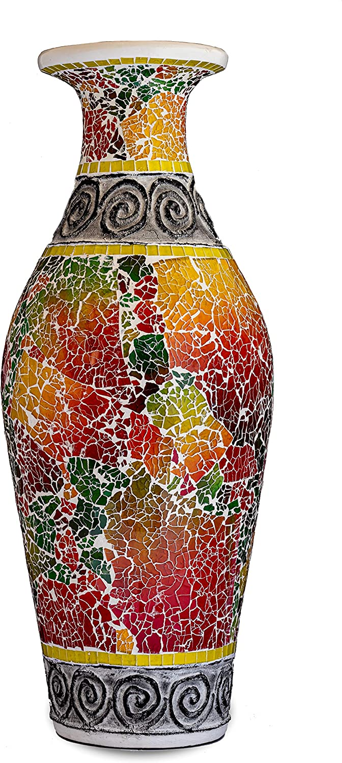 Zorigs, Decorative Tall Floor Vase – 24 x 12 Inches Tall Cylinder Vase Made of Terracotta with Colorful Glass Mosaic Pieces – Exquisite Home Decor Accent Piece - - for Hallway, Bedroom, Living Room