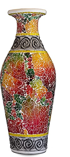 Zorigs, Decorative Tall Floor Vase 24 x 12 Inches Tall Cylinder Vase Made of Terracotta with Colorful Glass Mosaic Pieces Exquisite Home D cor Accent Piece
