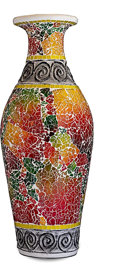 Amazon Com Zorigs Decorative Tall Floor Vase 24 X 12 Inches Tall Cylinder Vase Made Of Terracotta With Colorful Glass Mosaic Pieces Exquisite Home Decor Accent Piece Kitchen Dining