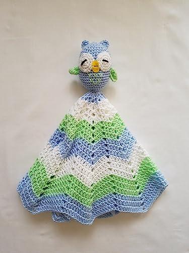Amazoncom Crochet Boy Owl Lovey Security Blanket Crochet Blanket