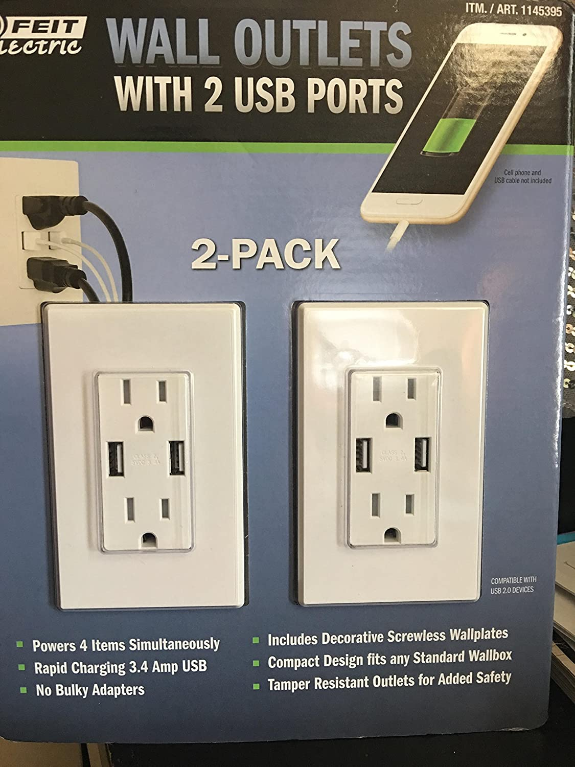 Feit Electric Wall Outlets With 2 Usb Ports Home Wiring For Phone Socket Improvement