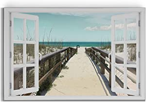 Renditions Gallery Window Look Out View with Sandy Beach Gallery Wrapped Canvas Wall Art, 24x36