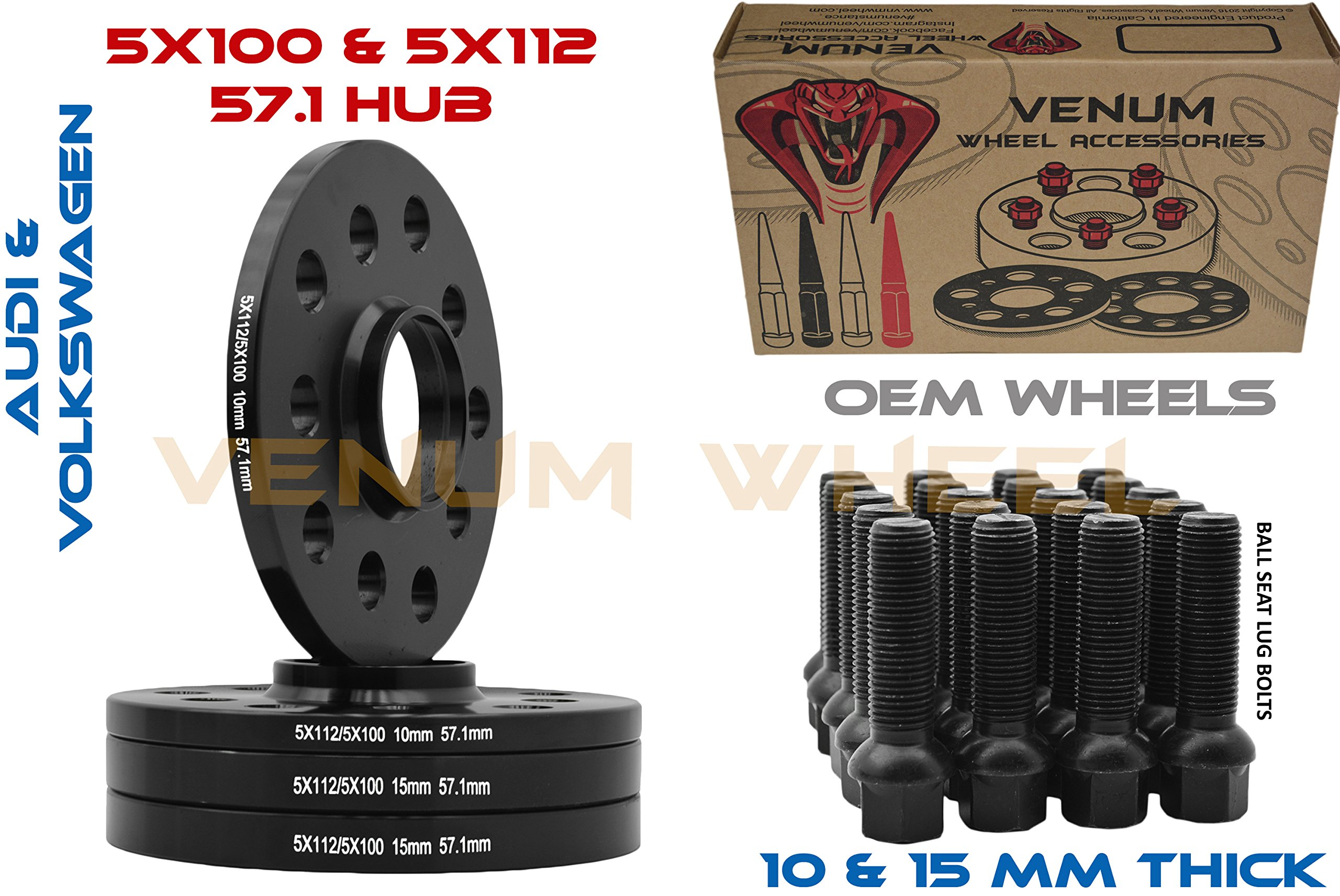 Complete Staggered Kit of 10mm & 15mm Black Hubcentric Wheel Spacers 5x100 & 5x112 57.1 Hub Bore + 20 Black Ball Seat Lug Bolts