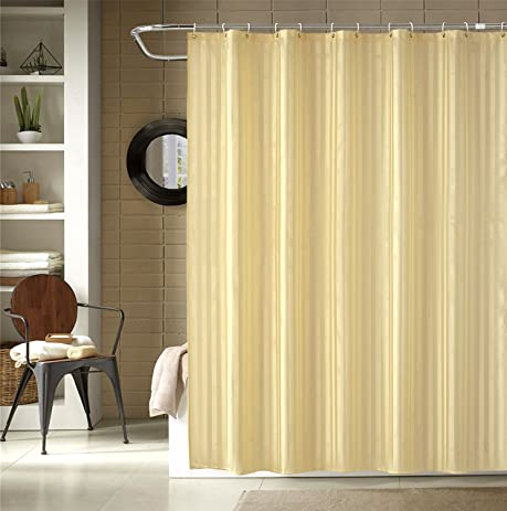 Welwo Bathroom Shower Curtains With Hooks Set   69 X 75 Inches Long Shower  Curtain Beige