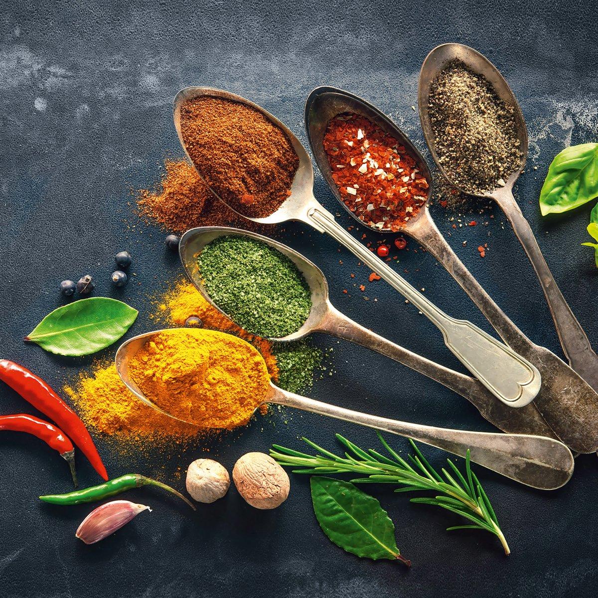 Eurographics DG dc1178Colorful Spices On Spoons I 30X 30quadro in vetro, vetro, multicolore, 30x 30x 2cm DG-DC1178