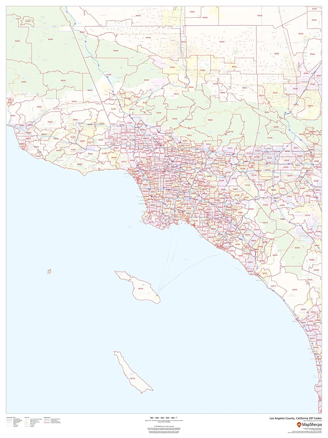 90804 Zip Code Map.Amazon Com Los Angeles County California Zip Codes 36 X 48
