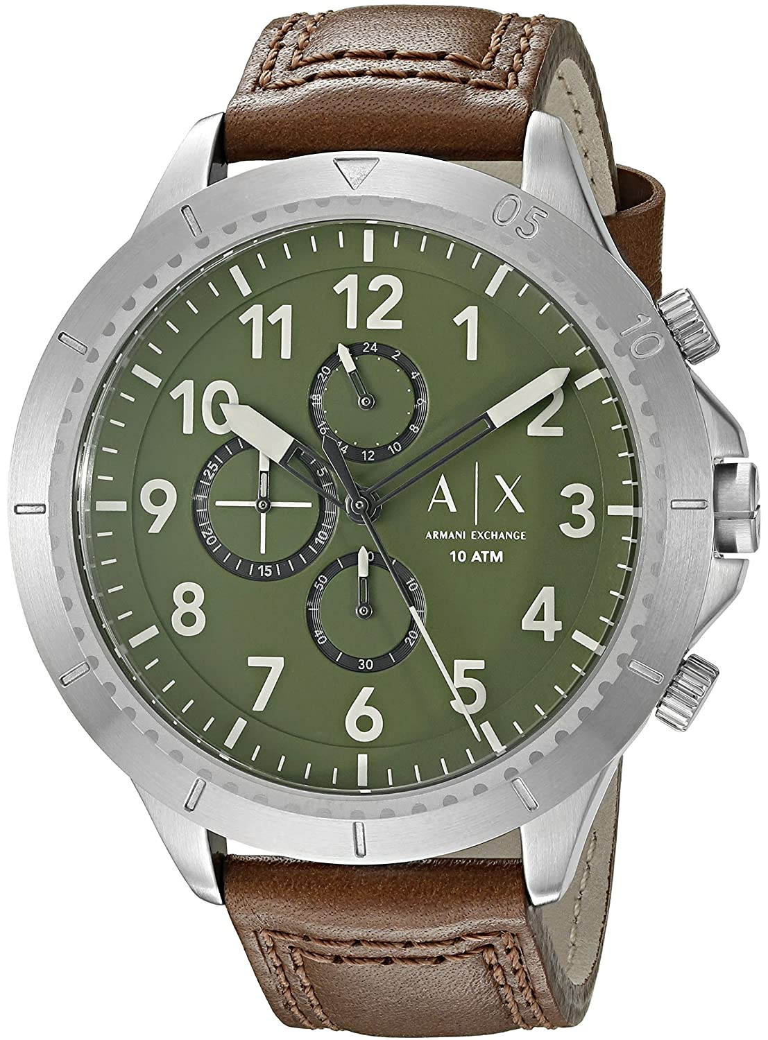 Amazon.com  Armani Exchange Men s AX1758 Brown Leather Watch  Watches 24e1237fa5
