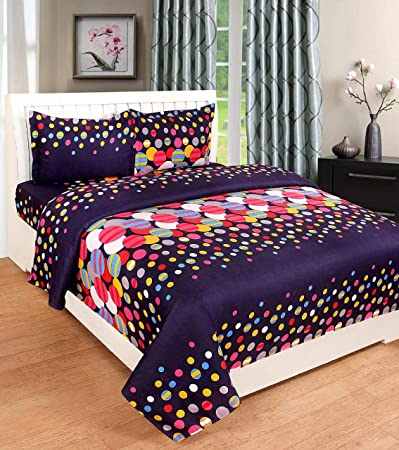 Pahwa's Handloom House Double Bedsheets Polycotton|BedSheets with 2 Pillow Covers (Purple)