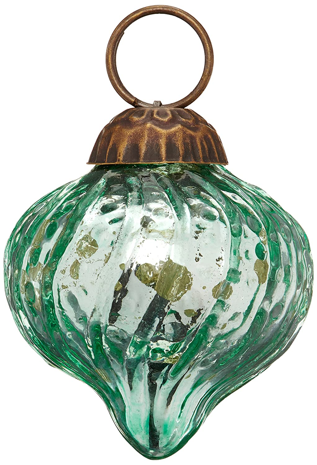 Christmas Tablescape Décor - Vintage style green Tania mini mercury glass ornaments - Set of 6