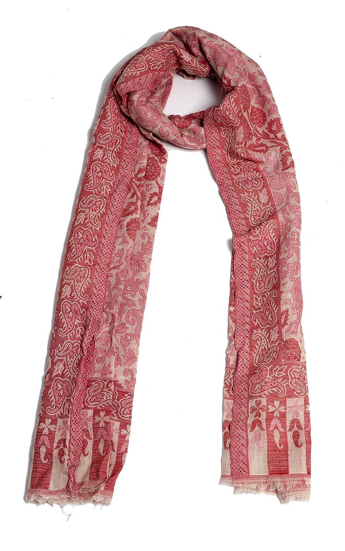 White & Pink Nainorita Women's Fine Wool Self Palla Stole