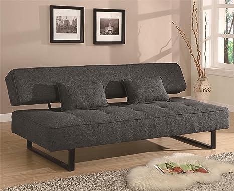 Estilo Contemporáneo Armless sofá cama en gris con 2 de la ...